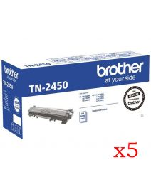 5 x Brother TN2450 Genuine Toner Cartridge - 3,000 pages