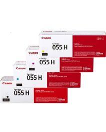 4 Pack Canon CART-055H High Yield Genuine Toner Cartridge Combo [1BK, 1C, 1M, 1Y]