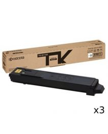 3 x Kyocera TK8119 Black Toner Cartridge - 12,000 pages