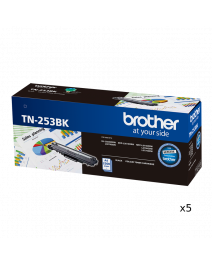 5 x Brother TN253 Genuine Black Toner Cartridge - 2,500 pages