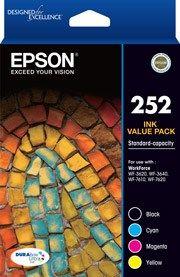 Epson 252 Genuine 4 Ink Value Pack (Bk, C,M,Y)