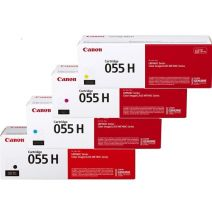 4 Pack Canon CART-055H High Yield Genuine Toner Cartridge Combo [1BK, 1C, 1M, 1Y]