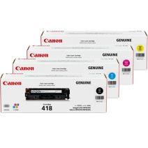 4 Pack Genuine Canon CART-418 Toner Cartridges [1BK,1C,1M,1Y]