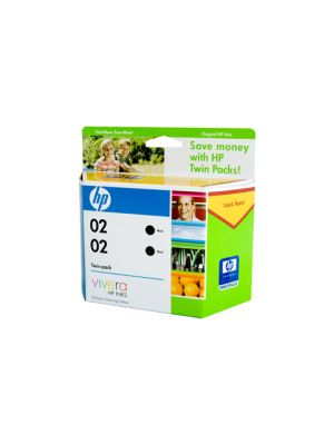 HP #02 Black Ink Twin Pack