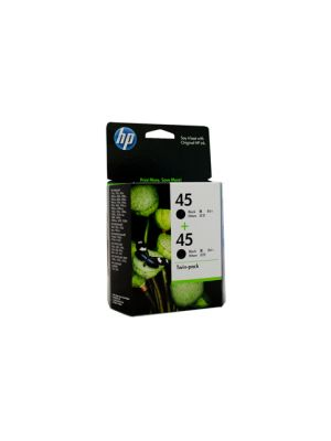 HP #45 Genuine Black Ink Twin Pack - 833 pages each