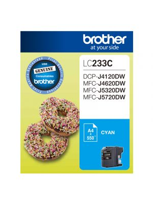 Brother LC233 Genuine Cyan Ink Cartridge - Up to 550 pages