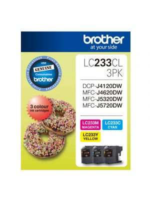 Brother LC233 Genuine CMY Colour Pack - Up to 550 pages each