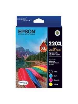 Epson 220XL Genuine High Yield Ink Value Pack (Bk,C,M,Y)