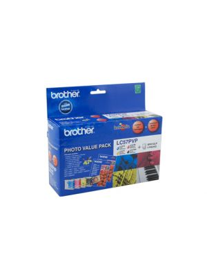 Brother LC57 Genuine Photo Value Pack - Bk 500 page CMY 400 pages each