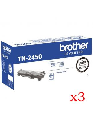 3 x Brother TN2450 Genuine Toner Cartridge - 3,000 pages