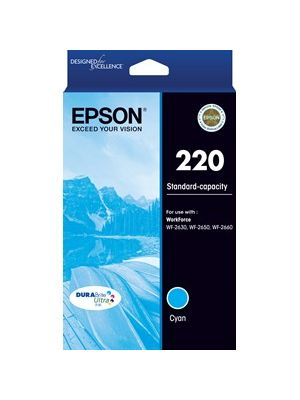 Epson 220 Genuine Cyan Ink Cartridge - 165 pages