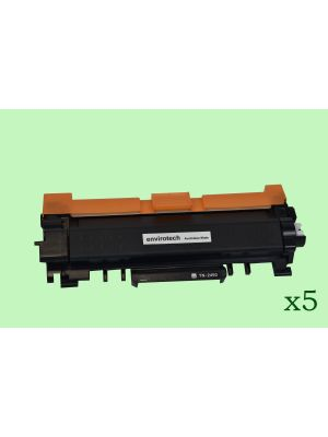 5 x Eco-Friendly Envirotech, Brother TN-2450 Toner Cartridge - 3,000 pages (Australia Made)