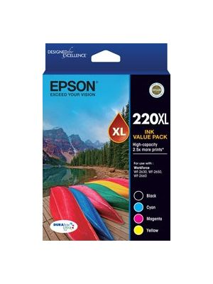 Epson 220XL Genuine High Yield Ink Value Pack (Bk,C,M,Y)