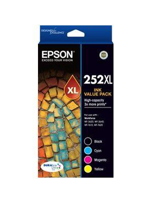 Epson 252XL Genuine 4 High Yield Ink Value Pack (Bk,C,M,Y)