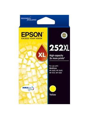 Epson 252XL Genuine High Yield Yellow Ink Cartridge - 1,100 pages