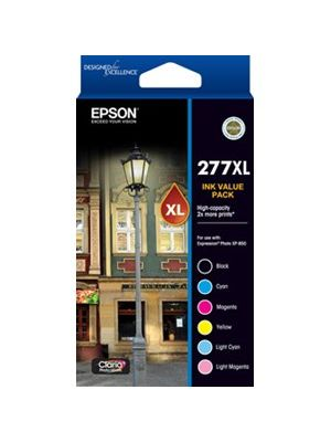 Epson 277XL Genuine 6 High Yield Ink Value Pack (Bk, C, LC, M, LM, Y)