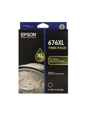 Epson 676XL Genuine High Yield Black Ink Cartridge Twin Pack - 2,400 pages x 2