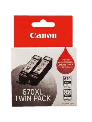 Canon PGI670XL Genuine Black Ink Twin Pack - 500 A4 - 3,900 4x6 x 2
