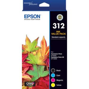 Epson 312 (C13T182992) Genuine High Yield Inkjet Cartridge CMYK Colour Pack [1K,1C,1M,1Y]