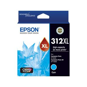 Epson 312XL (C13T183292) Genuine Cyan High Yield Inkjet Cartridge