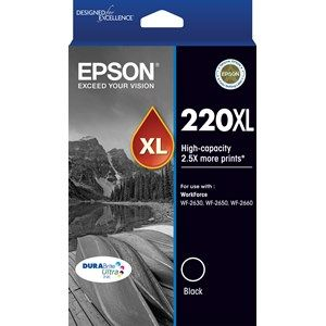 Epson 220 Genuine High Yield Black Ink Cartridge - 400 pages
