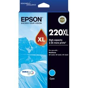 Epson 220 Genuine High Yield Cyan Ink Cartridge - 450 pages