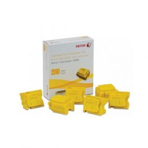 6 pack Fuji Xerox ColourQube 8900 Genuine Yellow Ink Sticks - 16,900 pages (108R01032)