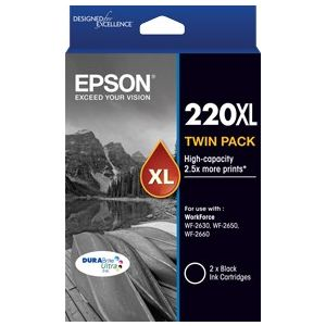 Epson 220XL Genuine High Yield Black Ink Twin Pack - 400 pages x 2