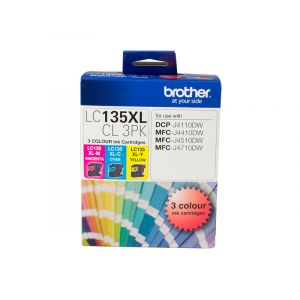 Brother LC135XL Genuine CMY Colour Pack - up to 1200 pages per colour